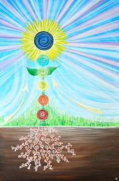 Featured in the motion picture The Grounded, I painted this original artwork to depict how I intuit energy flowing through our chakras when we are grounding... directly touching the earth. Connecting