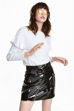 Dżersejowy top z falbankami - Biały - ONA   H&M PL