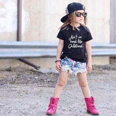 This statement shirt really fits for any occasions. Cotton and polyester blend materials make the fabric comfortable and smooth for kids' skin. Machine wash recommended with cold water, hang dry, do not bleach. Sizes starting from up to Cute Little Girls Outfits, Little Boy Fashion, Toddler Fashion, Kids Outfits, Kids Fashion, Baby Outfits, Trendy Fashion, Fashion Ideas, Hipster Baby Clothes