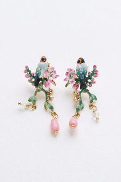 Les Nereides BIRD ON A BRANCH OF CHERRY BLOSSOM, CHARMS AND RHINESTONES EARRINGS #Lesnereides #jewellery #fashion #accessory #earrings #bird #birdearrings #sakura #cherryblossom