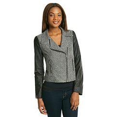 Black Rainn™ Black Tweed And Faux Leather Moto Jacket  Like the Armani Exchange jacket that Emily wears in episode 4.16
