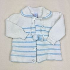 Vintage Saks Fifth Avenue Baby Boutique Cardigan Sweater With Pompoms Lg White #SaksFifthAvenue #Casual Sweater Outfits, Sweater Cardigan, Little Campers, Polly Pocket, Blue Accents, Baby Boutique, Baby Sweaters, Saks Fifth Avenue, Baby Blue