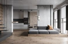 Gray Dining Chairs, Dining Room Walls, Living Room, Modern Staircase, Staircase Design, Modern Home Office Desk, Timber Shelves, Single Bedroom, Grey And Beige