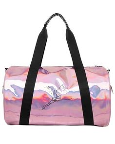 Shine bright with this duffle in holographic pink. Easy-to-access main compartment with two handles and removable strap which makes carrying easy. Two outer zip pockets with iconic Leaping Lena. Dance Bag Duffle, Duffle Bags, Holographic Print, Pink Gym, Best Dance, Cute Bags, Dance Wear, Gym Bag, Shoulder Strap