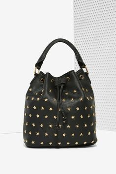 Interstellar Black Leather & Stars Studded Bucket Bag