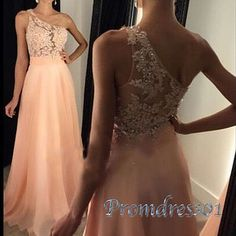 2016 unique design one shoulder orange lace chiffon prom dress with sequins on the top, ball gown, prom dresses long #coniefox #2016prom