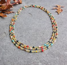 XL Bohemian Necklace, Long Beaded Necklace, Gypsy Boho Jewelry, Multicolors, Indonesian Glass & Seed Beads, Multistrand Spring Necklace