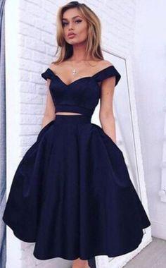 short homecoming dresses,simple homecoming dresses,navy homecoming dresses,cheap homecoming dresses @SevenProm