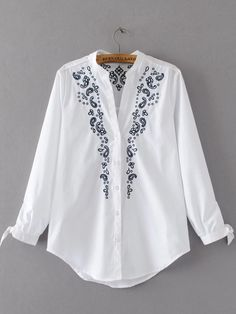 Shop Embroidery Tie Cuff Curved Hem Blouse online. SheIn offers Embroidery Tie Cuff Curved Hem Blouse & more to fit your fashionable needs.