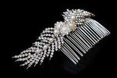 Feather Hair SlideDiamante Hair CombWedding by BeautifulBeeTiaras