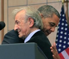 """Wiesel hug President Barack Obama hugs Nobel Peace Prize laureate and Holocaust survivor Elie Wiesel before he speaks at the Holocaust Museum in Washington, DC on April 23, 2012. Obama said, """"I will always be there for Israel"""" and noted """"Preventing genocide is an achievable goal"""" in the modern world. Pool Photo by Dennis Brack/UPI   License Photo"""