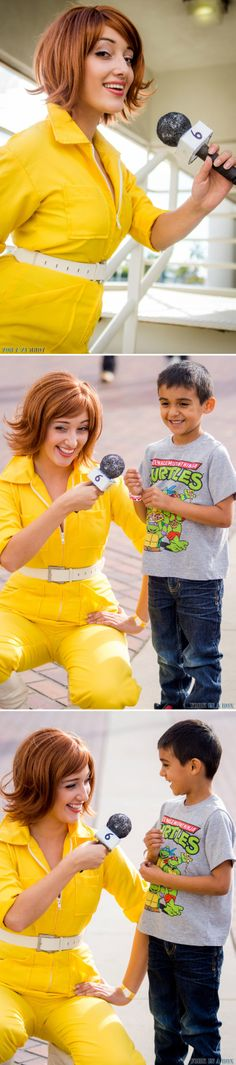 April O'Niel (Miss Wendybird) interviewing a fan at LBCC 2013 for Channel 6 News!