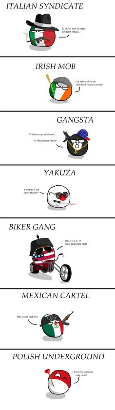 """Organized crime around the World"" by Martel First #polandball #countryball #flagball"