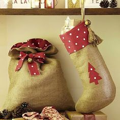 Amy Antoinette - Beauty Blog: DIY Christmas Stockings & Sack....love the bag for under the tree decoration