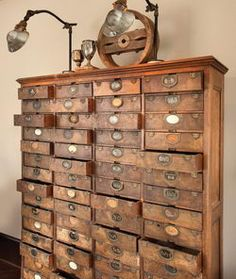 Awesome Vintage Library Card Catalog Chest of Drawers.