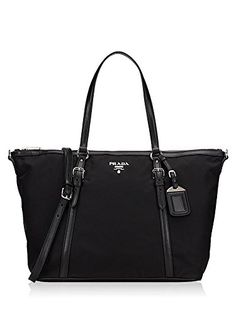 2d6c5076335a SALE PRICE -  1390 - Prada Tessuto Saffian Black Nylon and Leather Shopping  Tote Bag 1BG253