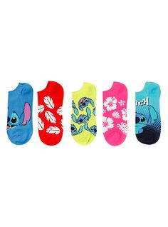 Disney Lilo & Stitch No-Show Socks 5 Pair, 4/5