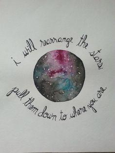 Handlettered Sleeping At Last Stars Watercolor by ElizabethAndOreo