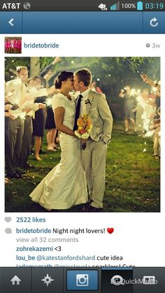 Night kiss with sparklers classic wedding style