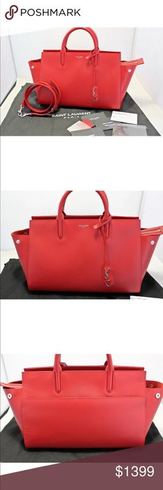 """Saint Laurent YSL Small Cabas Rive Gouche Bag- Red Saint Laurent's Cabas Rive Gauche, Comes New unused with all Cards and Dust bag - Authenticity Guaranteed Color - Red/Silver with Red Suede Liner Light pebbled grain leather  Silver tone hardware.  Model # 400413 B680N 6422  MADE IN 2016 Msrp 1990.00 Rolled handles; 3"""" drop. adjustable shoulder strap; 22"""" drop. Zip closure. Hanging covered Logo """"YSL"""" key ring/Charm Back slip pocket  suede lining; one zip and one slip pocket. Feet protect…"""