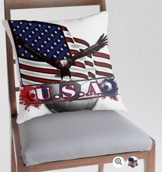 'Red White & Blue USA Soccer with Eagle & Flag' Throw Pillow by futureimaging Go Usa, Phone Covers, Red White Blue, Bed Pillows, Pillow Cases, Eagle, Soccer, Flag, Blanket