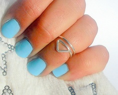 Triangle Above Knuckle Ring - Geometric Jewelry - Silver Triangle Wire Wrapped Ring by Tiny Box -. 12.99, via Etsy.