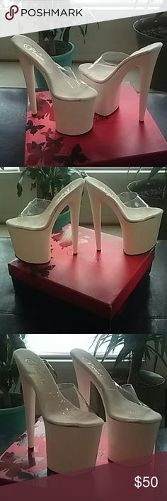 """Pleaser 8"""" platform stelletoes The Flamingo-801 platform high heel by Pleaser features a clear upper with a white PU base, peep toe, slip-on style, and a 8"""" heel with a 4"""" platform...!  BRAND NEW IN THE BOX NEVER WORN...! Very sexy and hot!    Pleaser Shoes Platforms"""
