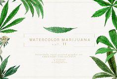 Watercolor Marijuana Vol.II by Jeanina Vlad on @creativemarket