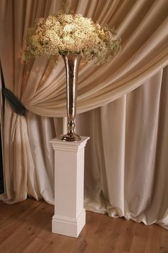 Ivory drape to partition off the end of the Barn for smaller weddings - may also be used as a reveal curtain. At Bury Court Barn by www.stressfreehire.com #venuetransformers