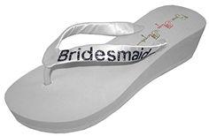 Wedding Flip Flops Bridesmaid Bridesmaid Bridal Flip Flops Bride Bling Glitter Wedge Wedding Platform Sandals Satin Flip Flops Shoes 11 M US *** Learn more by visiting the image link.