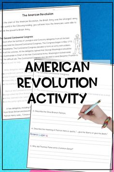 Teach your upper elementary students about the events of the American Revolution! This printable packet includes a nonfiction article, assessment questions, and activities about the Second Continental Congress, Declaration of Independence, George Washington, and important Revolutionary War battles. Can be used as a small group jigsaw activity, a partner reading activity, or independent work. | #samsonsshoppe #socialstudies #upperelementary Partner Reading, Teaching Reading, Upper Elementary Resources, Reading Comprehension Strategies, Social Studies Resources, Reading Worksheets, Middle School Science, Declaration Of Independence, American Revolution