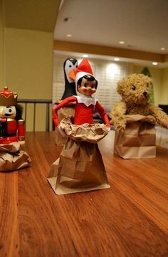 Elf On The Shelf sack races with friends