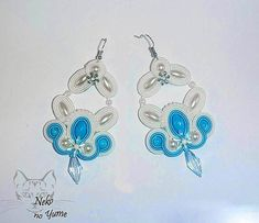 Soutache bridal errings, wedding earrings, blue & white earrings