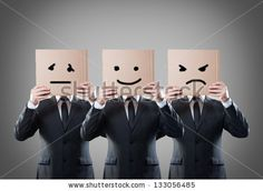 businessman with mask of different emotions by Chones, via ShutterStock