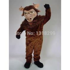 Dark Brown Bison mascot costume