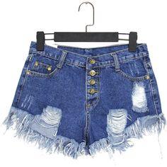Ripped Tassel Denim Navy Shorts ($12) ❤ liked on Polyvore
