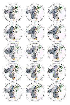 "Koala Bear Bottle Cap 1"" Circle Images Sheet #B2 (instant download or pre cut)"