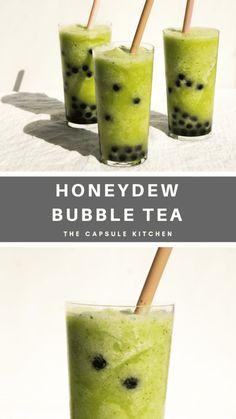 Honeydew Boba Smoothie for Scorching Hot Days Honeydew Smoothie, Boba Smoothie, Honeydew And Cantaloupe, Green Tea Smoothie, Tea Smoothies, Raspberry Smoothie, Tea Recipes, Parma