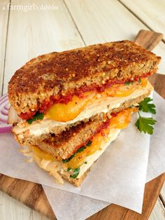 Herby Turkey Grilled Cheese Sandwich with Sun-Dried Tomato Spread - @Brenda Score   a farmgirls dabbles