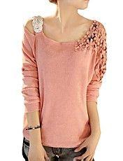 blusa de encaje lentejuelas hombro de la flor...+