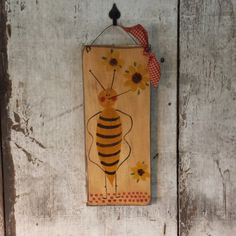Primitive Country Summer With SunflowersPrimitive DecorPrimitive DecorCountry BeePainted BeePrimitve SunflowersBee Sign