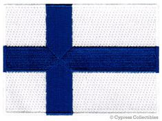 FINLAND FLAG PATCH iron-on embroidered applique by SouvenirPatch