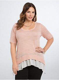 "<p>Treat yourself to an extra five minutes in the morning; this sweater has done the layering for you! The blush pink knit overlay has the comfort you want from a sweater. The breezy white chiffon underlay gets some added flow from a sharkbite hem.</p>  <p> </p>  <p><b>Model is 5'9.5"", size 1</b></p>  <ul> 	<li>Size 1 measures 28 1/2"" from shoulder</li> 	<li>Rayon/polyester</li> 	<li>Wash cold, dry flat</li> 	<li>Imported plus size sweater</li> </ul>"