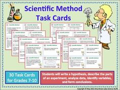 Scientific Method Task Cards, Grades 6-10, Set of 30 Task cards. Task cards are a fantastic way to reinforce lessons, review difficult concepts, or provide extra practice for the struggling student.
