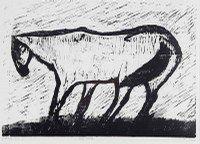 Ludvig Eikaas (1920). Hest i vind. Sort/hvitt tresnitt, 3/30, 48,5x67