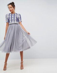 0d073eb89 ASOS Floral Paneled Embellished Tulle Midi Dress #ad Mi Long, Asos, Day  Dresses