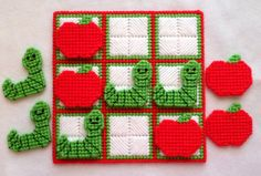 Tic-Tac-Toe Game Apples by gailscrafts on Etsy Plastic Canvas Crafts, Plastic Canvas Patterns, Hama Beads, Tent Stitch, 4 Ply Yarn, Cotton Polyester Fabric, Tic Tac Toe Game, Stitch Book, Game Pieces