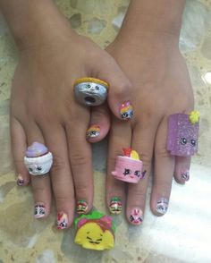 Shopkins nails ( season 3: Queen of Tarts, Taco Terrie, Suzie Sushi, Parry Cake & Fishtix in pinks sparkle)