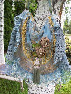 Blue Bohemian Gypsy Hippie Shoulder Bag Silk Purse by Fairybelles, $65.00
