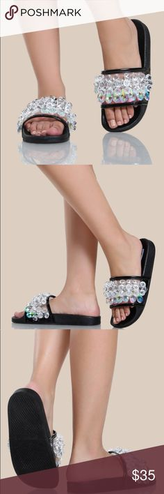 """Tiki Crystals Slides * Pre order * Gorgeous """"Tiki crystal slides"""" are fabulous & very comfortable. These are Pre orders and will be available for shipping Jan 30th Shoes Sandals"""
